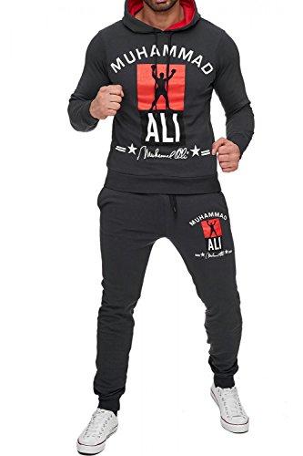 Herren Trainingsanzug Zweiteiler Boxing Jogginganzug Muhammad Ali, Farben:Dunkelgrau, Größe Pullover:XXL