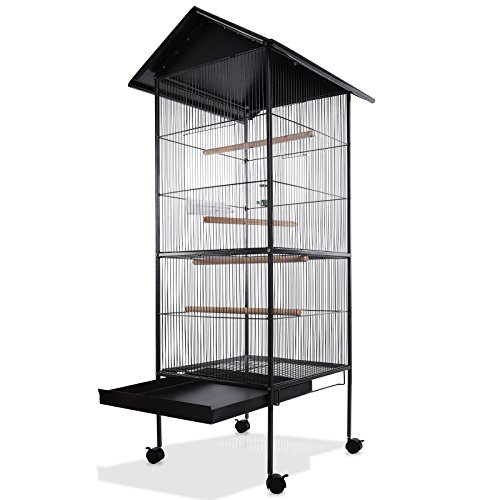 Deuba Jaula de pájaros XXL Negro 18 kg con ruedas giratorias 157 cm grande pajarera casa de pájaro con bandeja extraíble