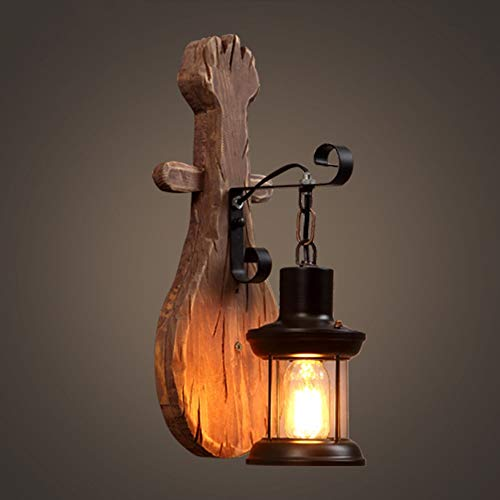 RGF Lampada da Parete Industriale retrò A Forma di Chitarra A Vento in Legno Massello in Ferro Battuto Dimensioni Materiale 16 * 45 (cm) Lampada Illuminazione Bar Caffetteria Ristorante Tetto