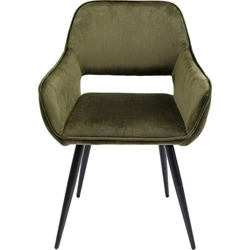 Kare Design Stuhl mit Armlehnen, San Fransisco Velours, Dunkelgrün