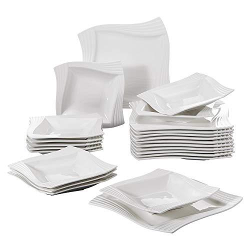 MALACASA, Serie Amparo, Cremeweiß Porzellan Tafelservice 24 TLG. Kombiservice 12 Flachteller und 12 Suppenteller für 12 Personen