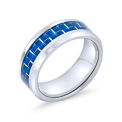 Bling Jewelry Geometrische Blau Kobalt Carbon Fiber Inlay Ehering Ringe Tungsten Ringe Für Herren Für Damen 8MM