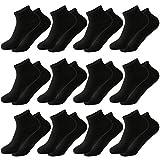 MOCOCITO 12 Paar Sneaker Socken Für Herren & Damen | Schwarz SportSocken | Größe 39 - 43