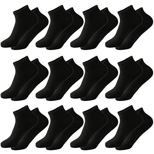 MOCOCITO 12 Paar Sneaker Socken Für Herren & Damen | Sport Socken | Atmungsaktive Baumwoll Socken | Schwarz Socken 39-42