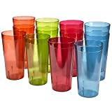 Café 32-ounce Plastic Restaurant-Style Tumblers | set of 12 in 4 Assorted Colors