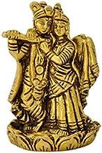Gangesindia Brass Radha Krishna Standing on Lotus Statue