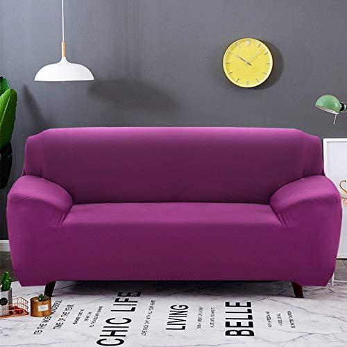 XIAOHUTAO Moderne Sofabezug, elastische einfarbige Sofa Couch Schonbezug Sitzschutz, für Wohnzimmer 1/2/3 Sitzer, Candy Purple, 2 Sitze 145.185 cm AA