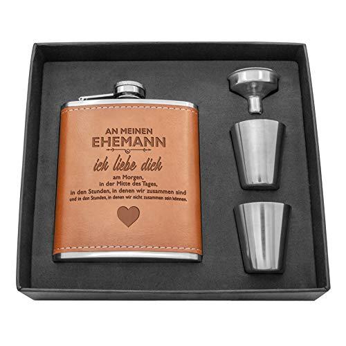 Juego de botellas de cuero de acero inoxidable para hombre, personalizables, regalo de cumpleaños para Navidad, con caja de regalo negra (An Mi marido)