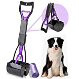 SUNITE Pooper Scooper for Large Dogs Heavy Duty, Small and Medium Dog Pooper Scooper with Bag Attachment,Foldable and Portable,Dark Purple