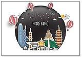 Imán para nevera con ilustración de Hong Kong