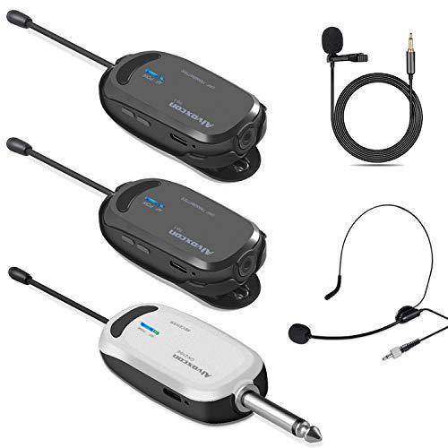 Alvoxcon ワイヤレスマイク ヘッドセット ピンマイク ワイヤレス UHF クリップマイク 無線マイク 動画撮影? 録音 拡声器 カメラ スマホ 軽量 高音質 日本語取扱説明書付き 送信機*2 受信機*1 二人用 TG120