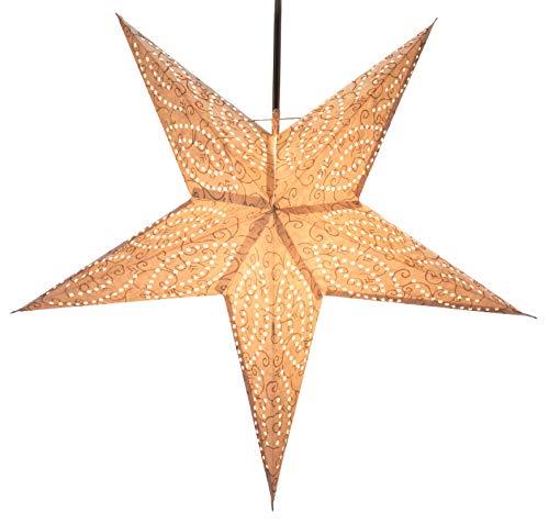 Guru-Shop Plegable Adviento Estrella de Papel Starlight, Estrella de Navidad Demian Nature, Blanco, 60x60x20 cm, Estrellas de Papel - Monocromo