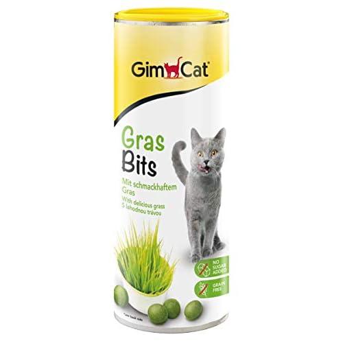 GimCat Gras Bits - Snack per Gatti Senza Cereali e Ricco di vitamine, con Erba Vera - 1 Barattolo (1 x 425 g)