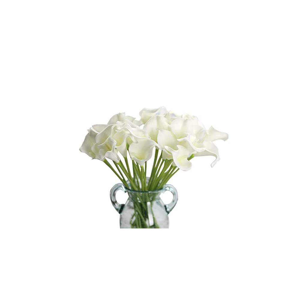 LianX Artificial Flowers, 12 Pcs Handmade Flowers Calla Lily Bridal Wedding Bouquet for Home Garden Party Decoration