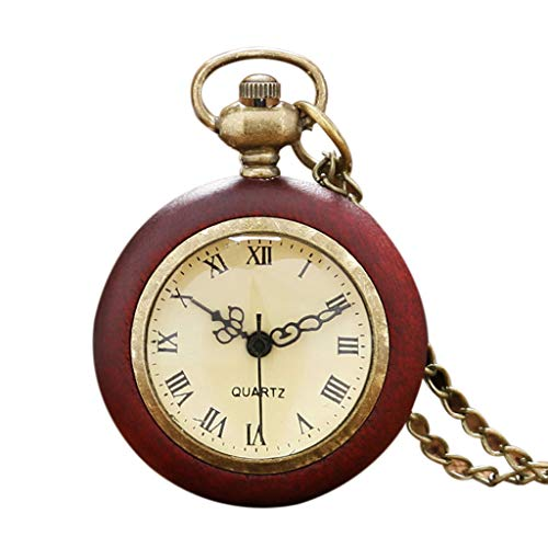 Congchuaty Red Rome Reloj de Cuarzo Antiguo Relojes de Bolsillo Collar Largo clásico Regalos con Encanto Mujer Hombre Moda Colgante Personalidad Collar Steampunk Vintage