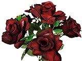 2 Bushes Black RED Open Rose Artificial Silk Flowers 14' Bouquet 7-039 BKRD