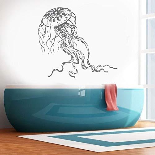 Abkbcw Océano decoración Medusa Etiqueta de la Pared de Vinilo decoración del hogar baño calcomanía Lavabo Mural 64x57 cm
