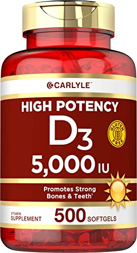 Vitamin D3 5000 IU 500 Softgels | Value Size | Non-GMO, Gluten Free Supplement | by Carlyle