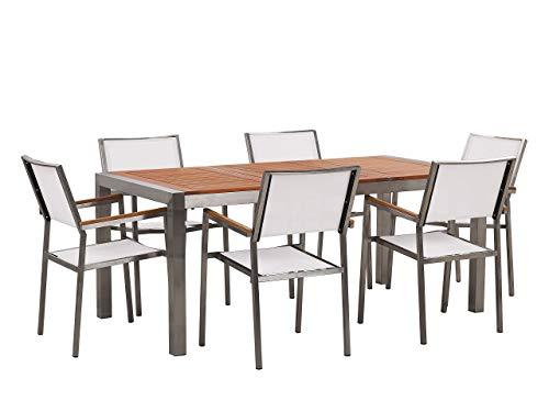 Beliani Conjunto de jardín Mesa con Tablero de Madera 180x90, 6 sillas Blancas GROSSETO