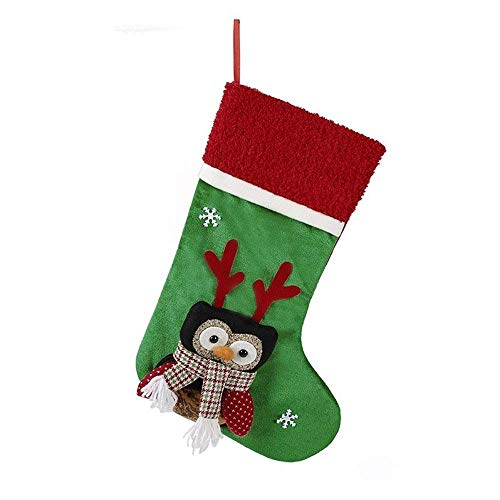 NLRHH Santa Claus Socken High-End-Leinen bestickte Weihnachtsstrümpfe Taschen Socken DIY (Farbe: B, Größe: 45 * 22cm) Peng (Color : B)