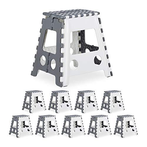 Relaxdays 10 x Tritthocker XL klappbar, einstufiger Klapphocker mit Griff, bis 120 kg, Kunststoff, 39,5 x 38,5 x 32 cm, grau/weiß