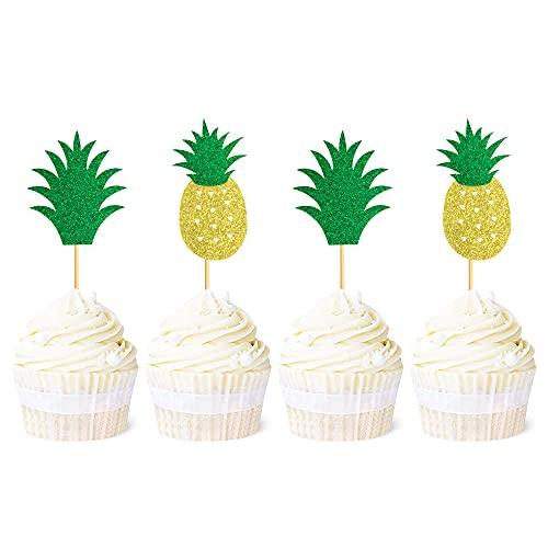 Unimall Global Pack de 24 toppers para cupcakes con diseño de piña y donut hawaiano con purpurina, temática de verano, fiesta de bebé, accesorios de decoración