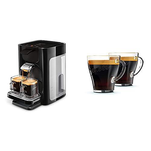 Philips HD7865/60 Senseo Quadrante Kaffeepadmaschine, Edelstahl, 1.2 Unknown_Modifier, Schwarz & Philips Senseo CA6510/00 Kaffeegläser, 2 Stück