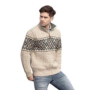 Aran Crafts Men's Irish Cable Knit Half Zip Jacquard Sweater (100% Merino Wool)