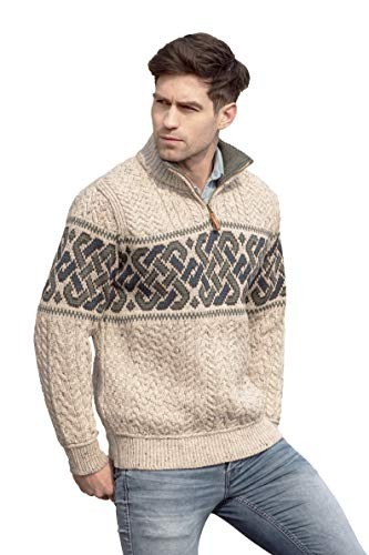 Aran Crafts Men's Irish Cable Knit Wool Half Zip Jacquard Sweater (X4843-LG-OAT) Oatmeal