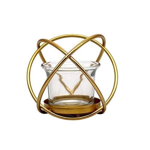 SMXGF Nordic Creative Geometrische metaalkandelaar Decoratie Iron Golden Geurkaars Holder Desktop Decoratie (Gold)