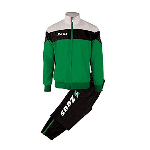 Zeus Herren Sportanzug Trainingsanzüge Running Laufen Training Sport Set Trikot Shirt Shorts Hosen TUTA LYBRA SCHWARZ GRÜN WEISS (XL)
