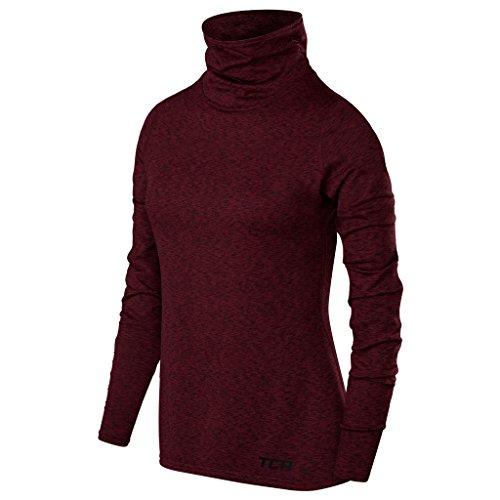 TCA Warm-up Damen Thermo-Laufshirt mit Rollkragen - Langarm - Burgund, S