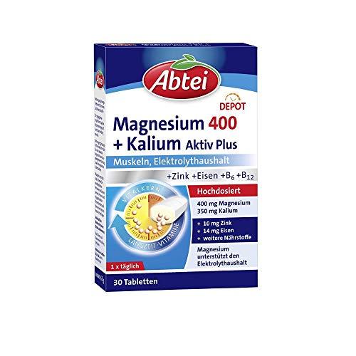 Abtei Magnesium 400 + Kalium - hochdosiertes Nahrungsergänzungsmittel für den Elektrolythaushalt und die Aufrechterhaltung der Muskelfunktion - vegan - 1 x 30 Tabletten