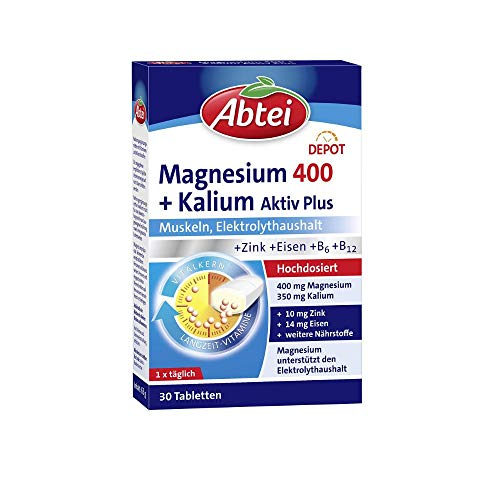 Abtei Magnesium Kalium Depot, hochdosiert, für Muskeln und den Elektrolythaushalt, 30 Tabletten (1 x 30 Stück)