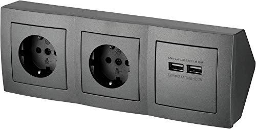 Regleta de 2 enchufes para esquina, con 2 puertos de carga USB, 230 V, 16 A, 3600 W, T1, color antracita