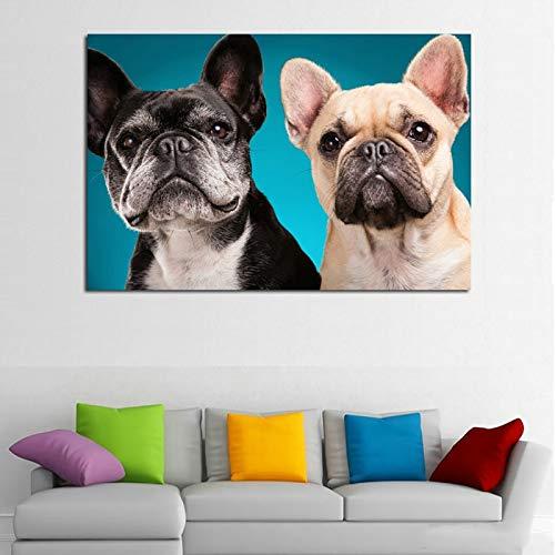 Rahmenlose Malerei Cartoon Tier Poster und Drucke niedlichen Hund Stoff Wandkunst DekorationZGQ4598 60X90cm