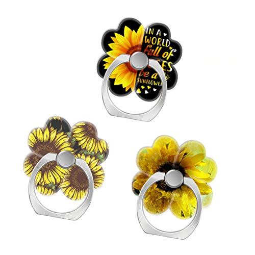 (3 Pack) Mobile Phone Ring Holder Finger Grip,in A World Full of Roses Be Sunflower Fun Watercolor Cell Phone Stand Kickstand Compatible with All Smartphone