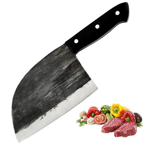 Promithi Coltello Serbo forgiato a mano da cucina per chef, coltello da macellaio per mannaia, coltello multiuso professionale per disossare per affettare campeggio all'aperto, con custodia (6.5 inch)