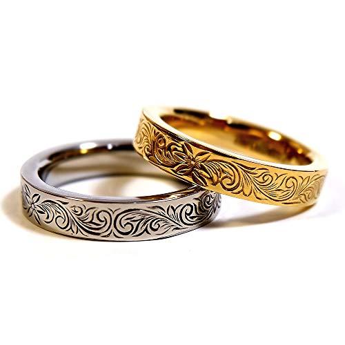 ペアリング 刻印無料 ペアハワイアンジュエリー リング 指輪 プルメリア サージカルステンレス 花 写真フレーム フラワー シルバー:11号 ゴールド:15号