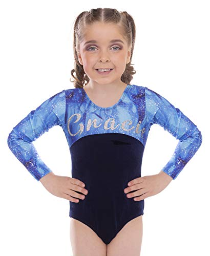 Sparkle Personalised Custom Long Sleeved Gymnastics Leotards for Girls (Sparkle Long Sleeved, 11-12 Years)