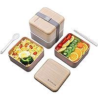 二層弁当弁当 ポータブル 食品容器保管、 冷凍庫、電子レンジ、食器洗い機用 -バランスの取れた食事を計画するのに役立ちます,白