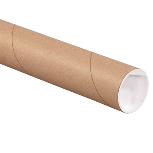 Aviditi Kraft Mailing Tubes with Caps, 2 1/2 x 12, Pack of 34, for Shipping, Storing, Mailing, and Protecting Documents, Blueprints and Posters