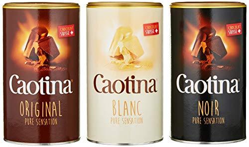 Caotina 3er-Set, original, noir, blanc, Kakao Pulver mit Schweizer Schokolade, Trinkschokolade, heiße Schokolade, 3 x 500g