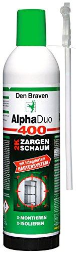 Den Braven BAD100300400 ALPHA DUO Montageschaum 2K 400 ml (formstabiler PU Schaum, alterungsbeständig, Baustoffklasse B2), Made in Germany