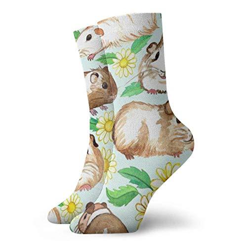 Unisex-Socken für Meerschweinchen und Gänseblümchen, atmungsaktiv, knöchelhoch, Laufen, Wandern, Sportsocken, kurz, 30 cm