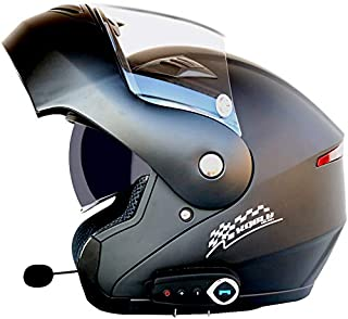 H&ZT Bluetooth Integrated Flip up Full Face Motorcycle Helmet Anti-Fog Sun Shield Dual Visors Helmet w/Microphone, MP3, GPS