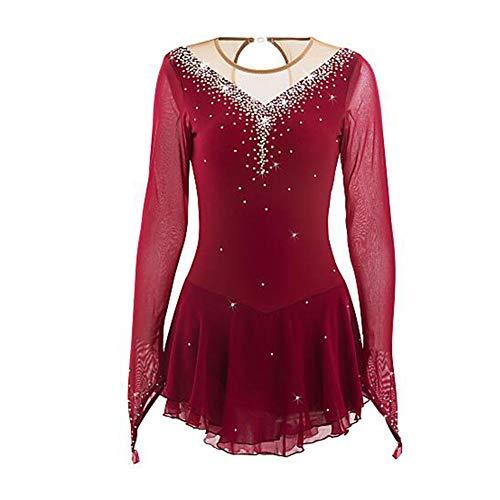 LWQ Eiskunstlauf-Kleid-Frauen-Mädchen Eislaufen Kleid Burgund Elastan Hohe Elastizität Wettbewerb Skating Tragen Sie Handmade,M