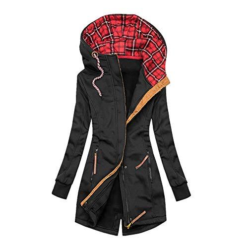 Sudadera con capucha y cremallera para mujer, diseño de cuadros