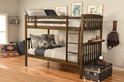 Kodiak Furniture Claire Bunk Bed with Tray, Twin, Rustic Walnut Finish