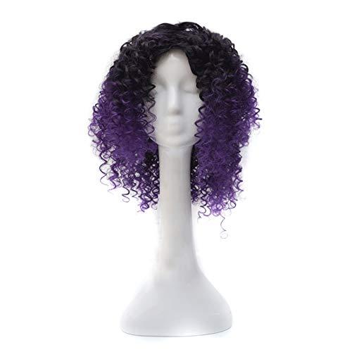 Jucaiyuan Peluca, señoras Explosivo Cabeza de Moda Negro gradiente Corto Pelo Rizado Cosplay Femenina Peluca La Peluca es Genial (Color : Black Gradient Dark Purple)